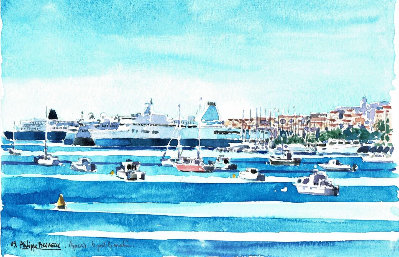 "Philippe Brobeck - ""Ajaccio le port aquarelle"""