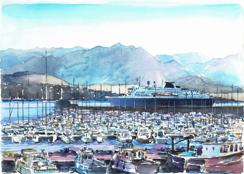 Philippe Brobeck - Ferry dans le port d' Ajaccio