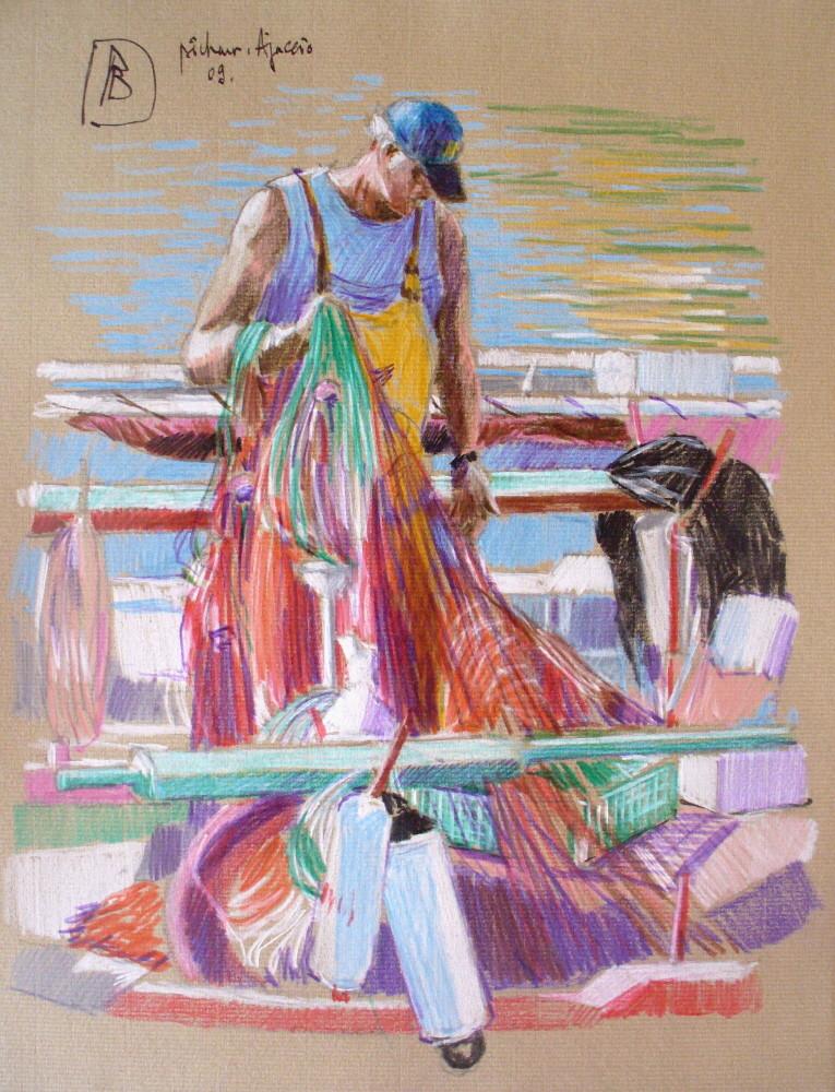 "Philippe Brobeck - "" Ajaccio pêcheur au port  Tino Rossi """