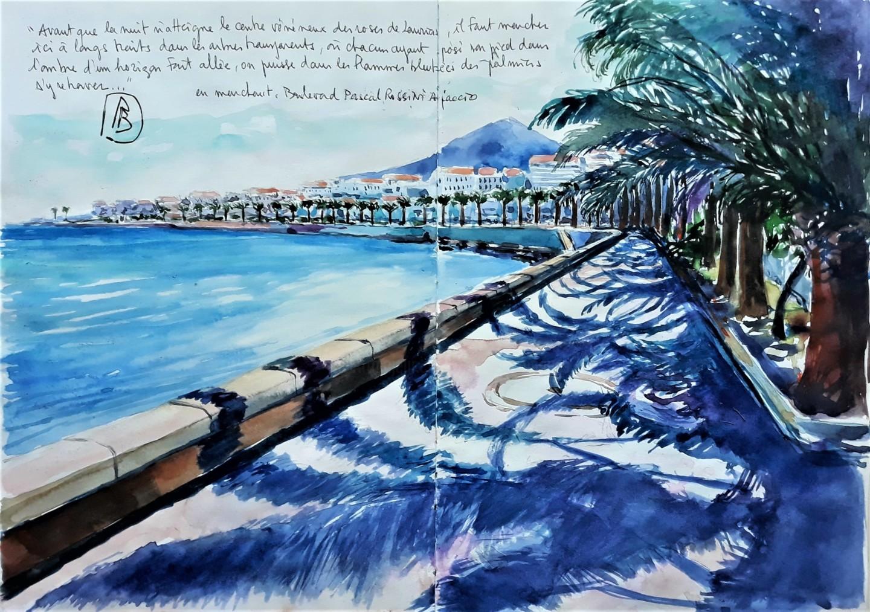 Philippe Brobeck - les palmiers en marchant Ajaccio