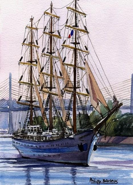"""Philippe Brobeck - """"voilier Mir sur la Seine"""""""