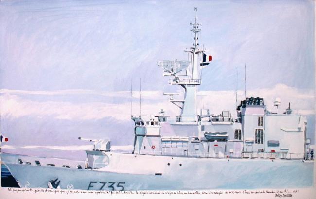 """Philippe Brobeck - """"la frégate Germinal à quai Toulon"""""""
