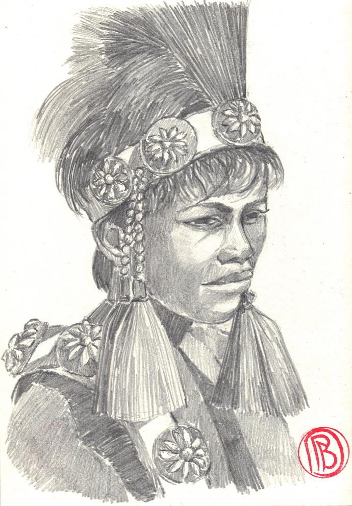 """Philippe Brobeck - """"Jeune Tahitien en costume de fête"""""""
