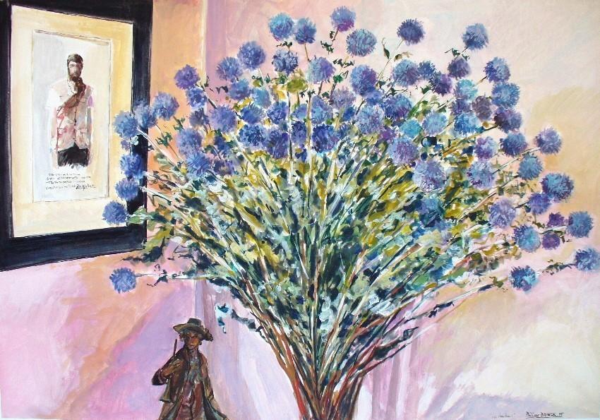 Philippe Brobeck - Autoportrait aux chardons bleus