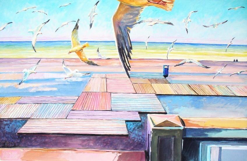 Philippe Brobeck - les goelands sur la plage de Dieppe
