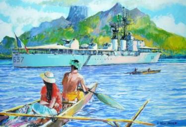 l'escorteur d'escadre Jauréguiberry au mouillage dans une île