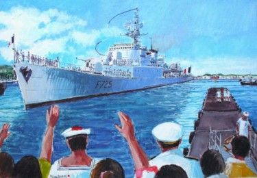 appareillage de l'aviso escorteur Victor Schoelcher de Papeete