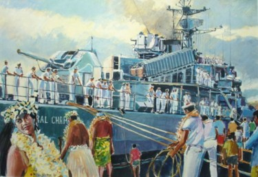L' arrivée de l'aviso escorteur Amiral Charner à Papeete