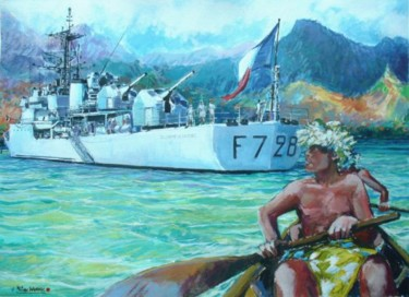 l'aviso escorteur Doudart de Lagrée au mouillage dans une île