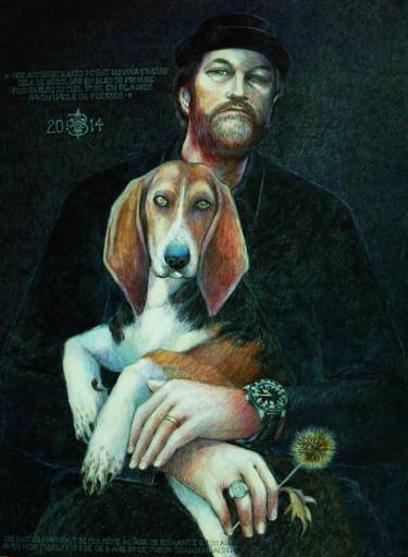 Autoportrait au chien Fifibé et au chardon jauni