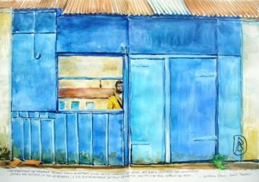 Autoportrait reflet dans la cabane bleue