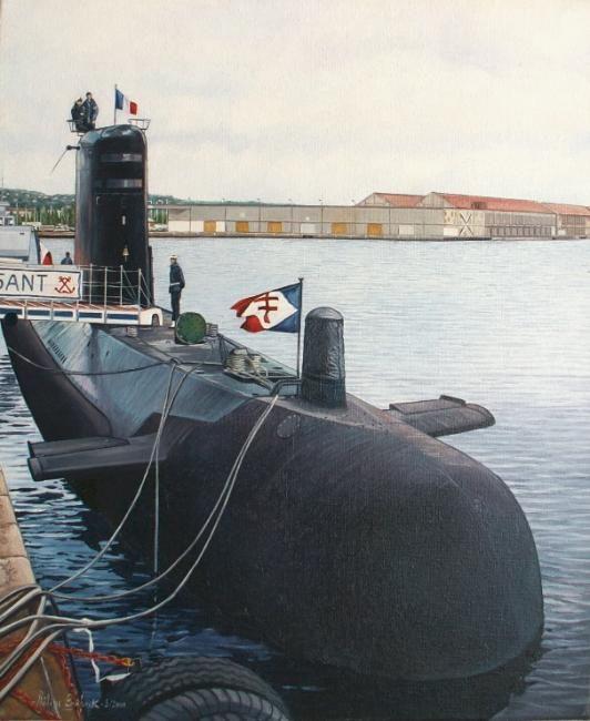 """Philippe Brobeck - """"le sous marin Ouessant à quai au Havre"""""""